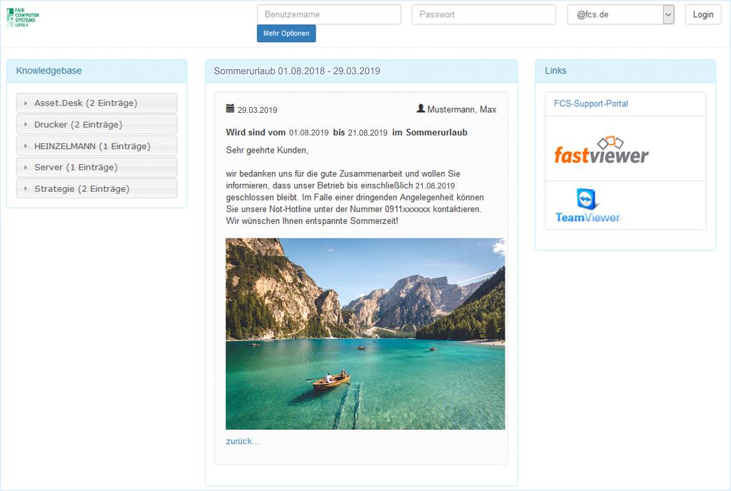HEINZELMANN User Helpdesk mögliche Login Seite