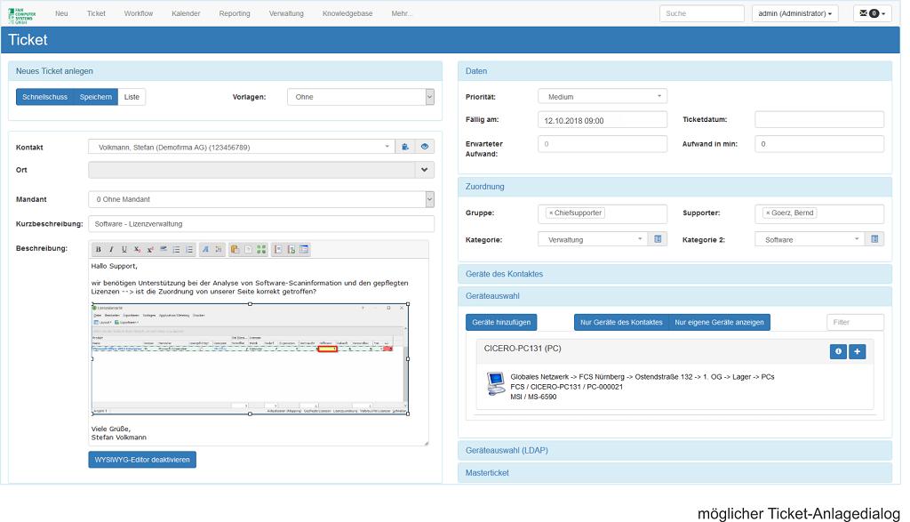 HEINZLMANN User Help Desk möglicher Anlagedialog_Neues Ticket anlegen
